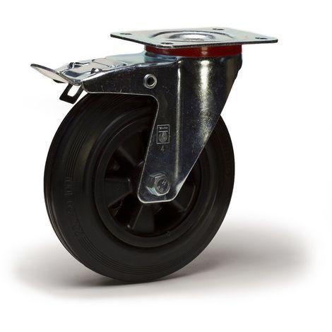 Roulette pivotante à frein diamètre 125 mm caoutchouc noir - 100 Kg GRANDE PLATINE