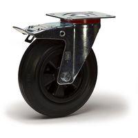 Roulette pivotante à frein diamètre 200 mm caoutchouc noir fixation à platine