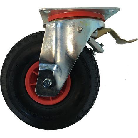 Roulette pivotante à frein diamètre 260 mm roue pneu gonflable 3.00-4 - 135 Kg