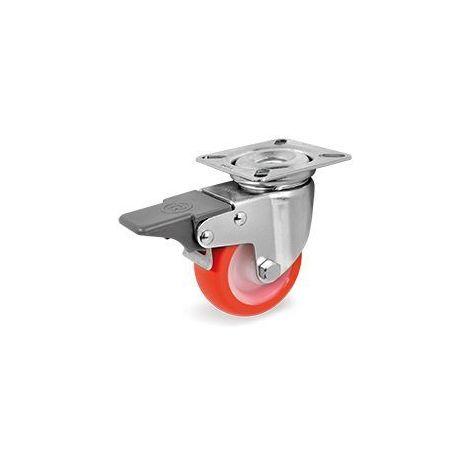 Roulette pivotante à frein diamètre 40 mm roue polyuréthane rouge - 40 Kg
