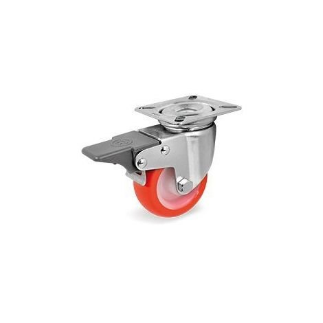 Roulette pivotante à frein diamètre 50 mm roue polyuréthane rouge - 55 Kg
