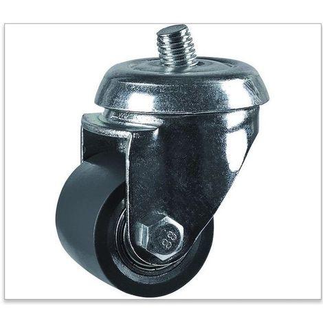 Roulette pivotante à oeil diamètre 35 polyuréthane gris jante fonte - 100Kg