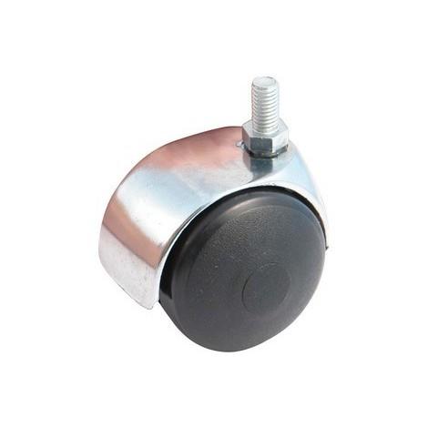 Roulette pivotante à tige filetée 10x15 AVL - Roue nylon noir Ø 50 - Charge 40 kg - 595525A