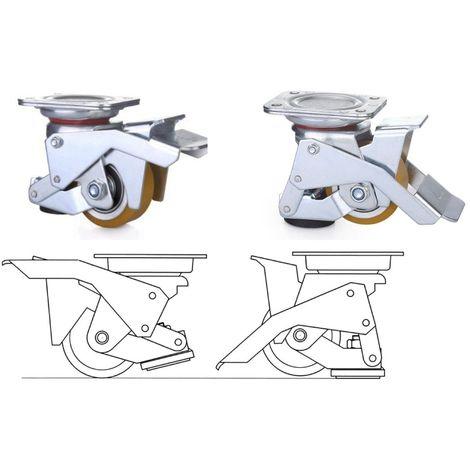 Roulette pivotante avec patin d'immobilisation intégré diamètre 75 - 350 Kg
