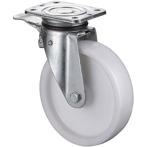 Roulette pivotante de charge lourde Ø de la roue 150 mm Capacité de charge 6 avec blocage plastique Longueur du plateau138xl110 mm