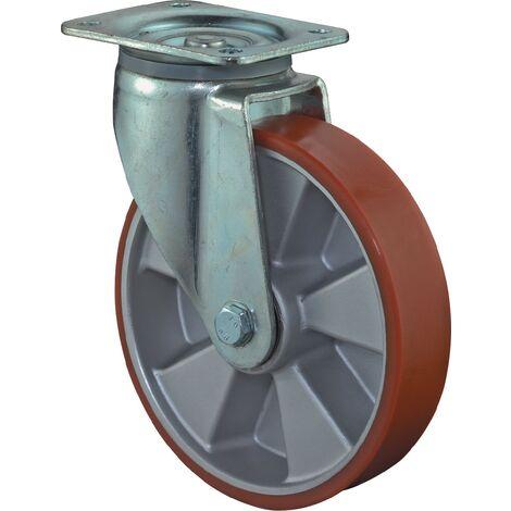 Roulette pivotante de charge lourde L600.l90.250 Ø de la roue 250 mm Capacité de charge 1 polyuréthane coulé 135 mm 110 mm