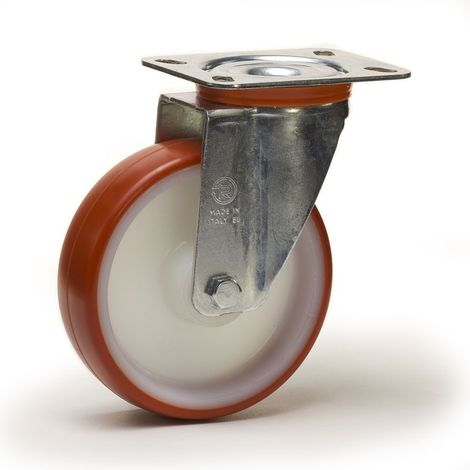 Roulette pivotante diamètre 100 mm roue polyuréthane rouge roulement à billes - 200 Kg