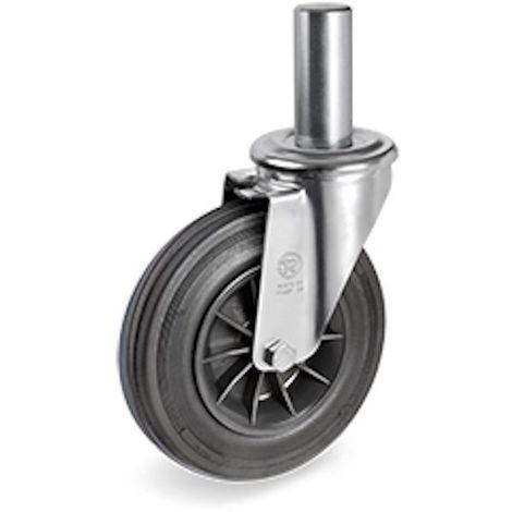 Roulette pivotante diamètre 125 mm caoutchouc noir tige lisse 22 x 47 mm
