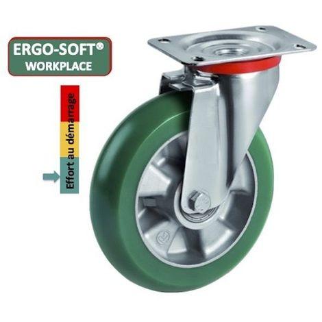 Roulette pivotante diamètre 125 mm roue polyuréthane vert ERGO-SOFT® - 220 Kg