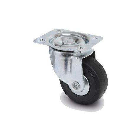 Roulette pivotante diamètre 50 mm caoutchouc noir - 40 Kg