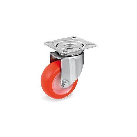 Roulette pivotante diamètre 50 mm roue polyuréthane rouge - 55 Kg
