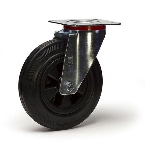 Roulette pivotante diamètre 80 mm caoutchouc noir - 50 Kg