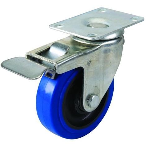 Roulette Pivotante à Frein En Caoutchouc 100 Mm 140 Kg Bleue