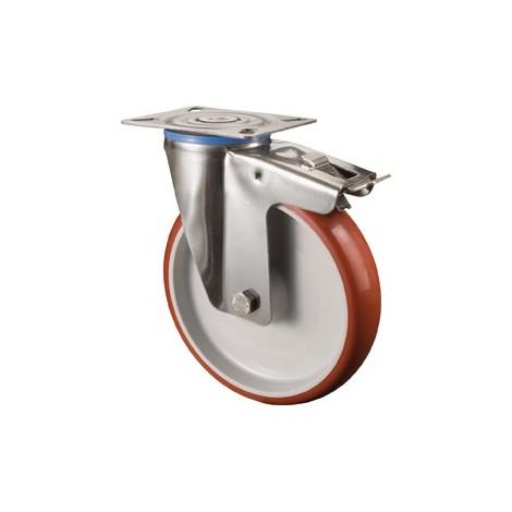 """main image of """"Roulette polyurethan avec frein d 100 mm 120Kg Tragpour"""""""