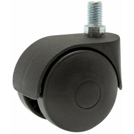 Roulette twiny noire à tige filetée pivotante 62 x 50
