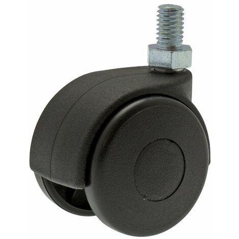Roulette Twiny noire à tige filetée pivotante Guitel point M