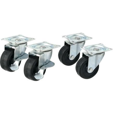Roulettes pivotantes 50 mm - Vendu par 4 Gris