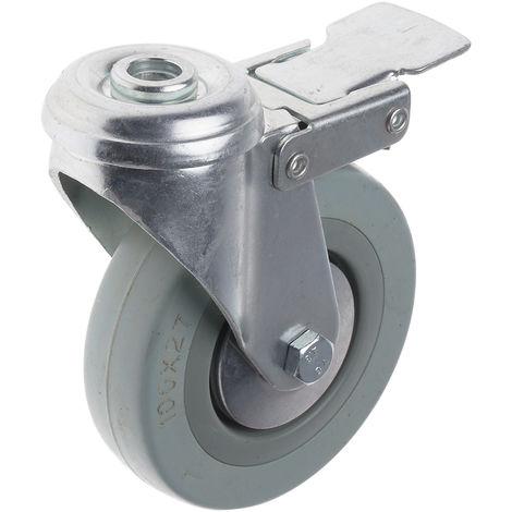 Roulettes pivotantes à tige Pivotant avec frein avec frein, Dimensions 100mm x 27mm, 80kg Caoutchouc