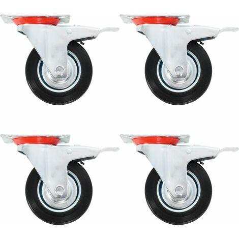 Roulettes pivotantes avec double frein 4 pcs 100 mm