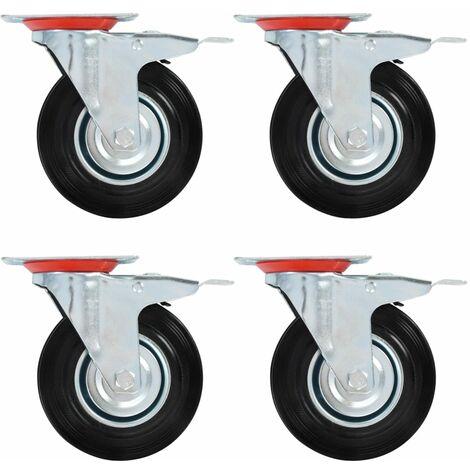 Roulettes pivotantes avec double frein 4 pcs 125 mm