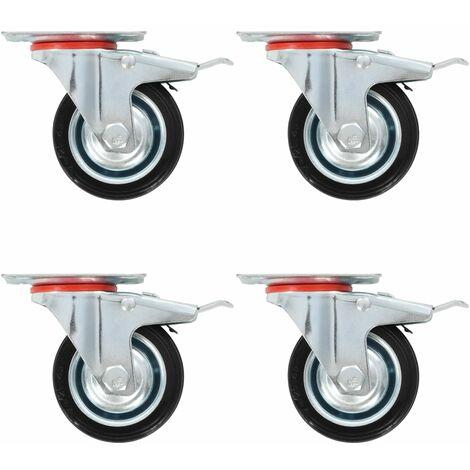 Roulettes pivotantes avec double frein 4 pcs 75 mm