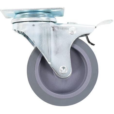 EMUCA 2037921 Lot de 4 roulettes pivotantes Gris pour Meuble 2 sans Frein diam/ètre 80mm avec Plaque de Fixation et roulement /à Billes