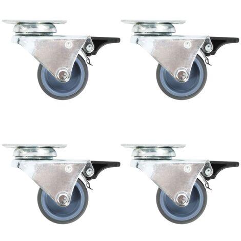 Roulettes pivotantes doubles à double frein 4 pcs 50 mm