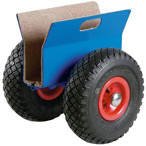 Rouleur porte-panneaux, force 250 kg - pneumatiques - support panneaux 15 – 70 mm - Coloris piétement: Bleu clair RAL 5012