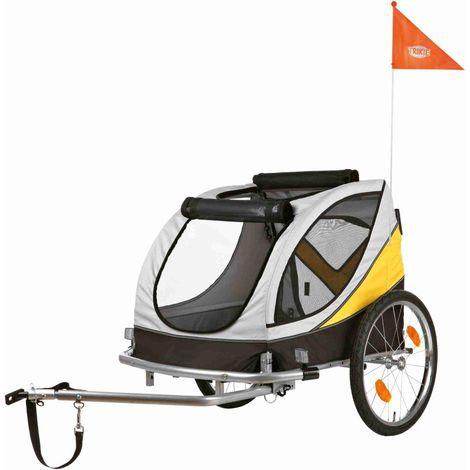 Roulotte de vélo - L: 78 × 78 × 86/150 cm, gris/noir/jaune