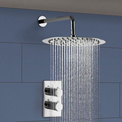 Round 250 mm Rainfall Shower Head 2 Dial 1 Way Thermostatic Mixer Valve and Arm