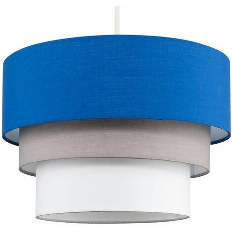 Round 3 Tier Fabric Ceiling Pendant Lamp Light Shade - Dark Grey