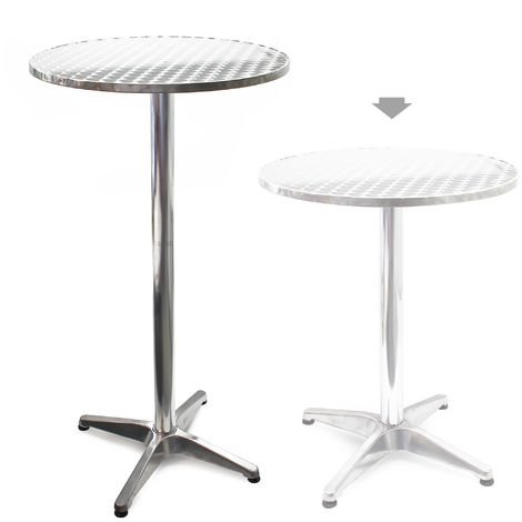 Round Aluminium Outdoor Table for with Ø60cm and Adjustable Height 70cm or 110cm