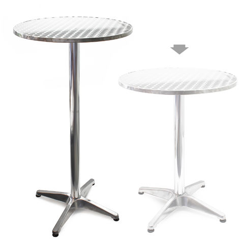 Round Aluminium Outdoor Table with Ø60cm and Adjustable Height 70cm or 110cm