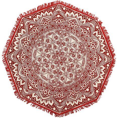 Round Area Rug Mandala Pattern ø 120 cm Red and Cream MEZITILI
