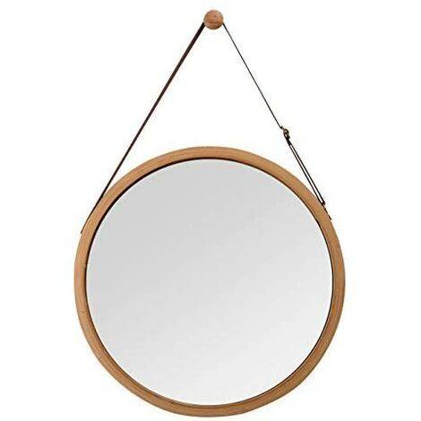 """main image of """"Round bamboo wall mirror with adjustable leather belt 38 cm, brown, 45 cm"""""""