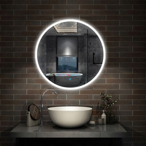 Round Bathroom Mirror with LED Lights,Touch Sensor,Cool White Light,Wall Mounted,IP44