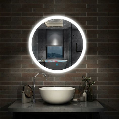 Round Bathroom Mirrors with Lights,Demister,Touch-600x600 700x700 800x800