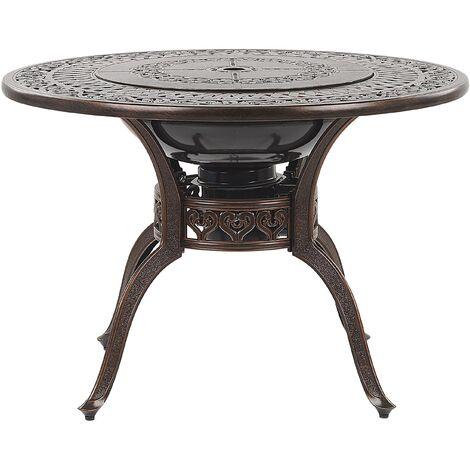 Round BBQ Garden Dining Table ø 105 cm Brown MANFRIA