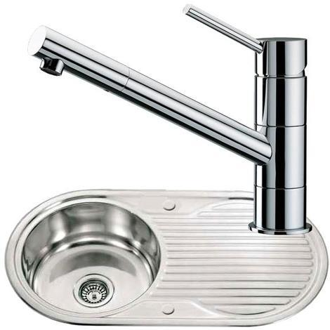 Round Bowl Stainless Steel Kitchen Sink With Drainer & Chrome Mixer Tap (KST028)