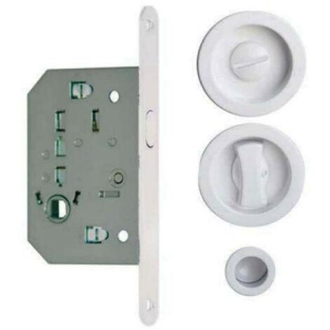 Round bowls kit for wooden sliding doors - Condemnation - White