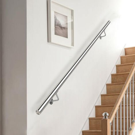 """main image of """"Round Brushed Stainless Steel Bannister Rail Balustrade Stair Handrail"""""""