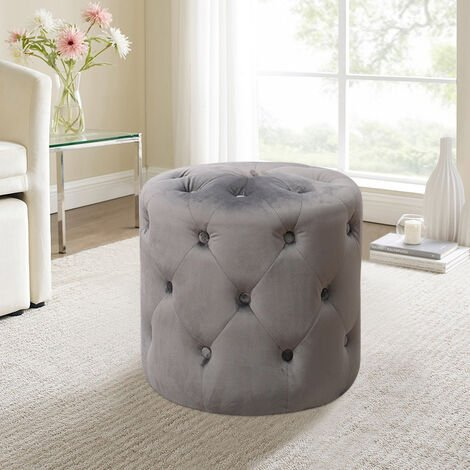 Round Button Stool Footrest Footstool Coffee Table Chair Bed Side Stand Pouffe