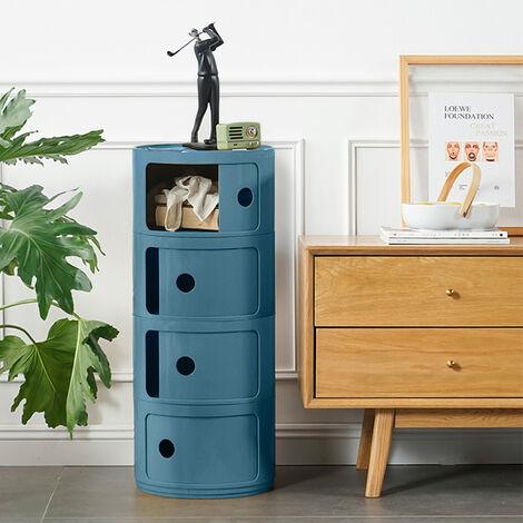 Round Cabinet Cupboard 4 Drawer ABS Storage Unit Bathroom Bedroom Stand
