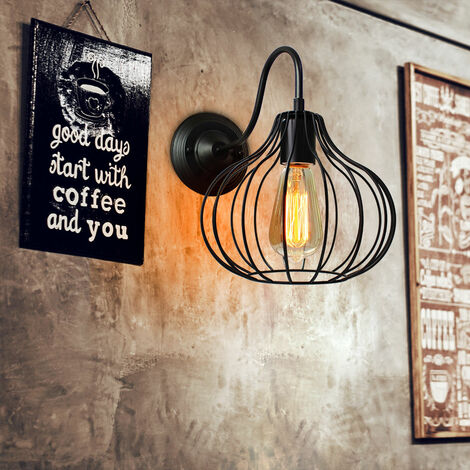 Round Cage Industrial Style Chandelier Lamp Black Metal Vintage Retro Pendant Light Shade Indoor Bar Club Ceiling Lampshade Lights Fixture E27 Bulb