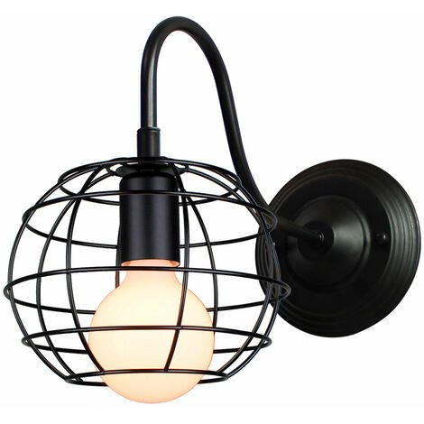 Round Ceiling Light Vintage Metal Cage Light Retro Industrial Ceiling Lamp Black for Home Restaurant Bedroom Office