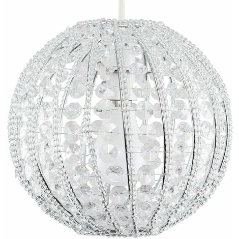 Round Ceiling Pendant Shade With Clear Acrylic Jewels