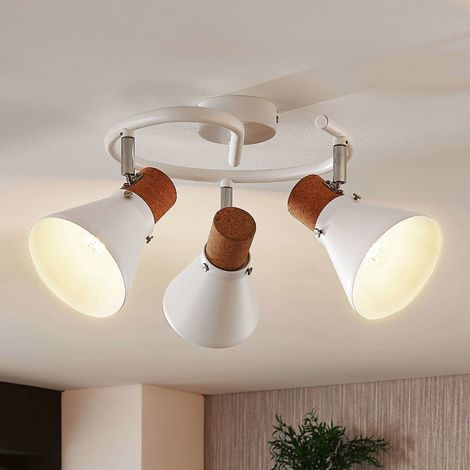 Round ceiling spotlight Silva, cork decor, 3-bulb