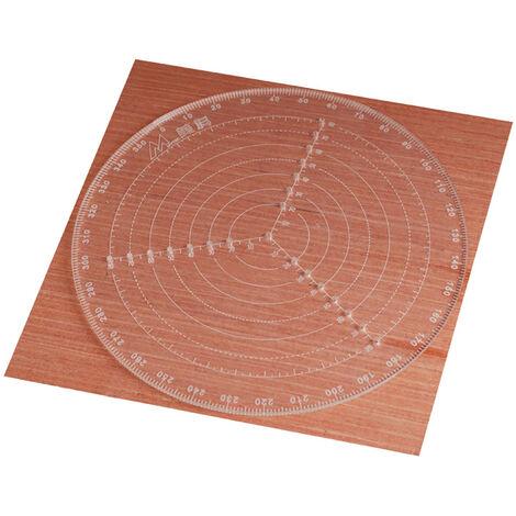Round Centre Finder Regle COMPAS 300mm / 11.8in clair Gauge acrylique Cercle pour bois Turners Tour travail clair et precis echelle Centrage regle