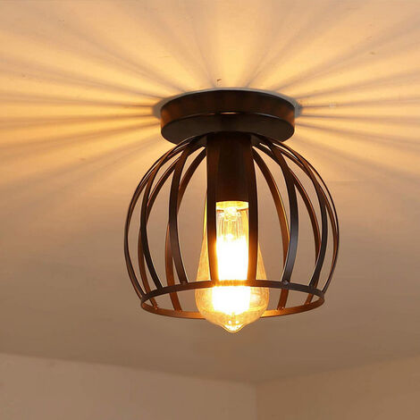 "main image of ""Round Chandelier Retro Industrial Ceiling Lamp Cage Metal E27 Bedroom Hallway Ceiling Light Vintage Ceiling Light Black"""