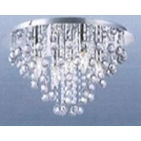 Round Chrome Acrylic Jewel Chandelier Crystal Cut Droplet Flush Ceiling Light